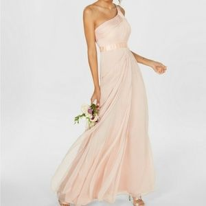 Adrianna Papell 1 Shoulder Tiered Chiffon Gown